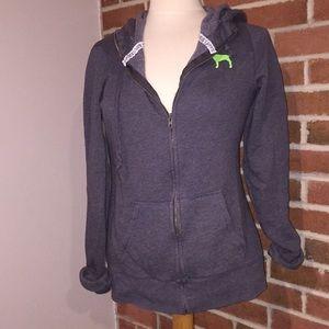 VS Pink grey/green long-line zip up hoodie